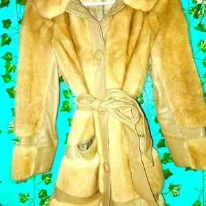 Vintage Leather&Mink Peacoat From the 60s
